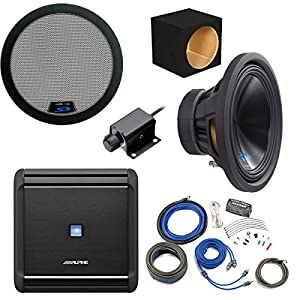 "Alpine Bass Package - Type-S 12"" Subwoofer w/ box, MRV-M500 500 watt amp, Bass Knob, Wiring Kit, and Grille"
