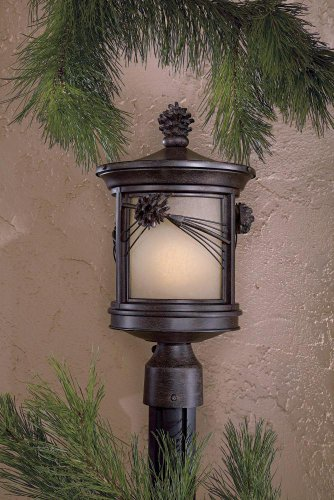 The Great Outdoors 9156-357-PL Abbey Lane 1-Light Post Mount in Iron