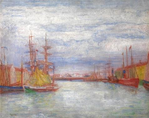'James Ensor - Ostend Harbour' Oil Painting, 12x15 Inch / 30x38 Cm ,printed On Perfect Effect Canvas ,this Beautiful Art Decorative Canvas Prints Is Perfectly Suitalbe For Basement Decor And Home Artwork And Gifts