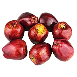 JEDFORE 8Pcs Simulation Artificial Lifelike Fake Dark Red Apple Red Delicious Apples Set Fake Fruit for Home House Kitchen Wedding Party Decoration Photography 69