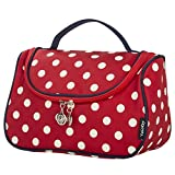 Makeup Bag Cute, Yeiotsy Stylish Polka Dots Cosmetic Bag for Women Travel Toiletry Bag Organizer (Classic Red)