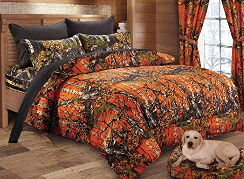 - Regal Comfort The Woods Orange Camouflage Premium Luxury Queen Comforter Camo Bedding Set for Hunters Cabin or Rustic Lodge Teens Boys and Girls