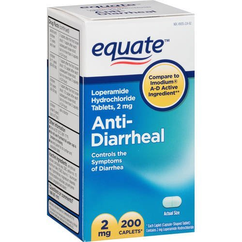 Equate - Anti-Diarrheal, Loperamide 2 mg, 200 Caplets (Compare to Imodium)