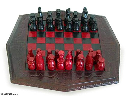 NOVICA Red and Black Wood and Leather Chess Set, African Battle'