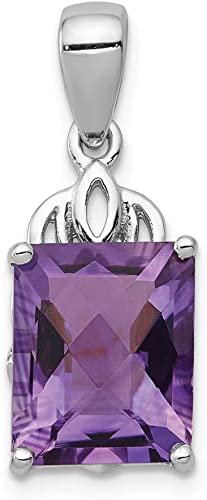 925 Sterling Silver Purple Amethyst Diamond Pendant Charm Necklace Gemstone Fine Jewelry Gifts For Women For Her