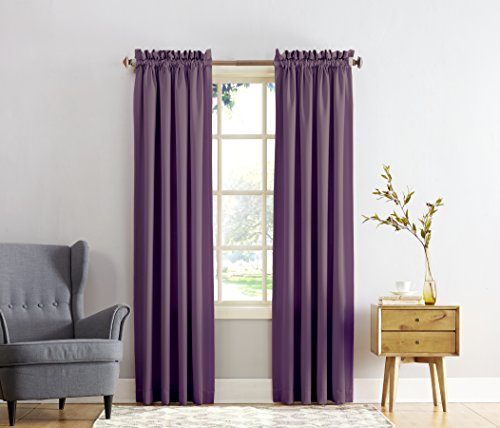 Curtains Eggplant (Sun Zero Barrow Energy Efficient Rod Pocket Curtain Panel, 54