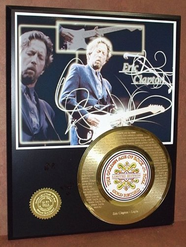 """Eric Clapton""""Layla"""" Gold 45 Record Limited Edition Display Laser Etched W/Lyrics"""