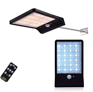48 LED Solar Wall Lights Outdoor Remote Control Motion Sensor Lights with Mounting Pole Two Color Lamp Beads Decor Security Lighting for Yard,Garage and Home.