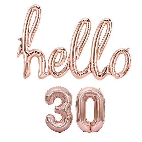Hello 30 Props Decoration Rose Gold Balloons, 30TH Birthday Banner Balloon Birthday Party Backdrop Banner Decor