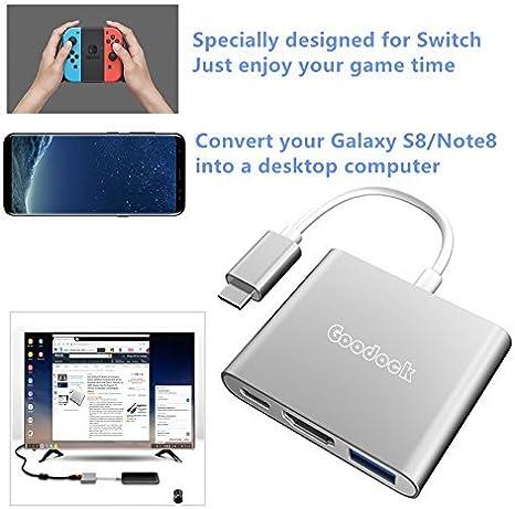 GOODEX Dock Set for Nintendo Interruptor, Dex PC de escritorio estación para Samsung Galaxy S8, convertidor de USB tipo C a HDMI adaptador Hub Para Proyector TV Monitor para MacBook/Chromebook (plata): Amazon.es: