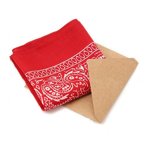 (Unlabeled Unisex Cotton/Silk Paisley Bandana Red)