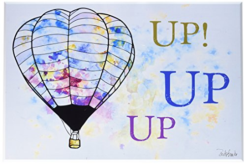 Stupell Home Décor Watercolors Up Up Up Hot Air Balloons Wall Plaque Art, 10 x 0.5 x 15, Proudly Made in (1765 Art)