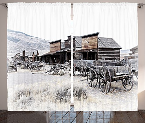 Ambesonne Western Decor Curtains by, Old Wooden Wagons from 20's in Ghost Town Antique Wyoming Wheels Art Print, Living Room Bedroom Window Drapes 2 Panel Set, 108 W X 84 L Inches, Brown White