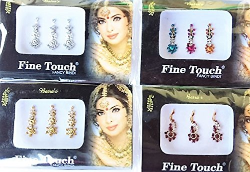 4 Pack Gold, Silver, Maroon and Multi Color Assorted Big Size Bollywood Head Bindi Tattoo Indian Art Rhinestone Stickon Reuseable Sheesham Ivy LLP
