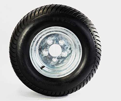 205/65-10 (20.5 X 8.00-10) Bias Ply Pontoon Trailer Tire w/ 10 Galvanized Rim by Tredit