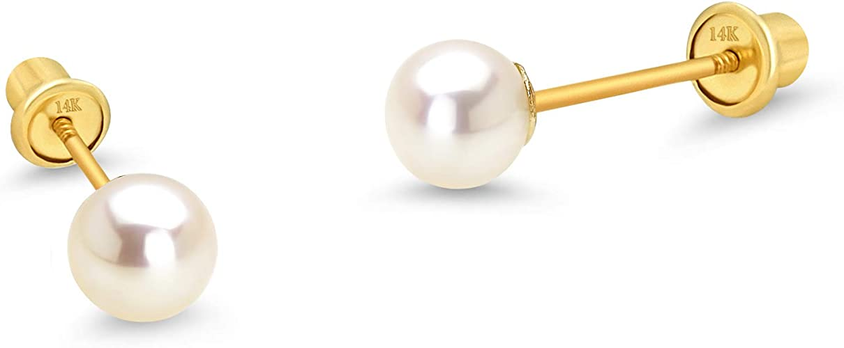 14K Yellow Gold AAA WHITE Pearl Stud Earrings Screw Backs for Babies /& Children