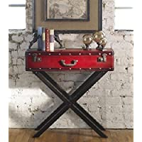 31.75 Antique Red Trunk Wooden Console Table