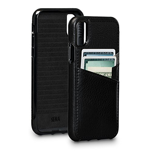 - Sena Bence Lugano Wallet Leather Cell Phone Case For Iphone X Xs - Black