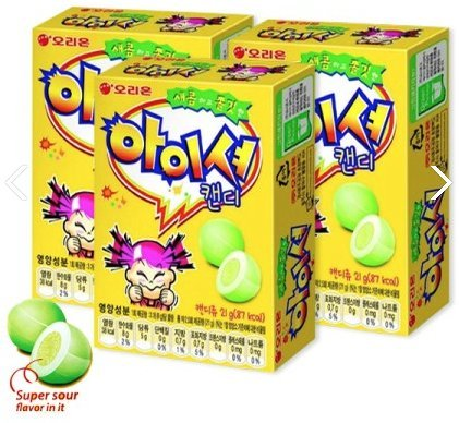 Korean Orion Super Sour Chewing Soft Candy Iciou Apple Flavor 21g (Pack of 3)