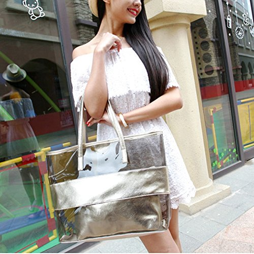Gold PVC Girl Women Handbag Tote Gold Waterproof Beach Bag Zhaoke Shoulder Transparent Bag TPfqnaTF