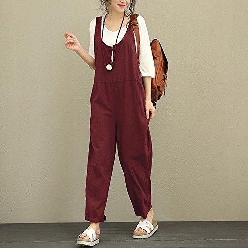en Salopette Vrac Femmes Coton NINGSANJIN sans Automne Manches Rouge en Combinaison 8wc5cpgRq