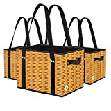 Stain Resistant Collapsible and Reusable Grocery Bags with Reinforced Bottom. Eco Friendly Shopping Box Bags with Laminated Exterior. Wicker Print. (Set of 3)