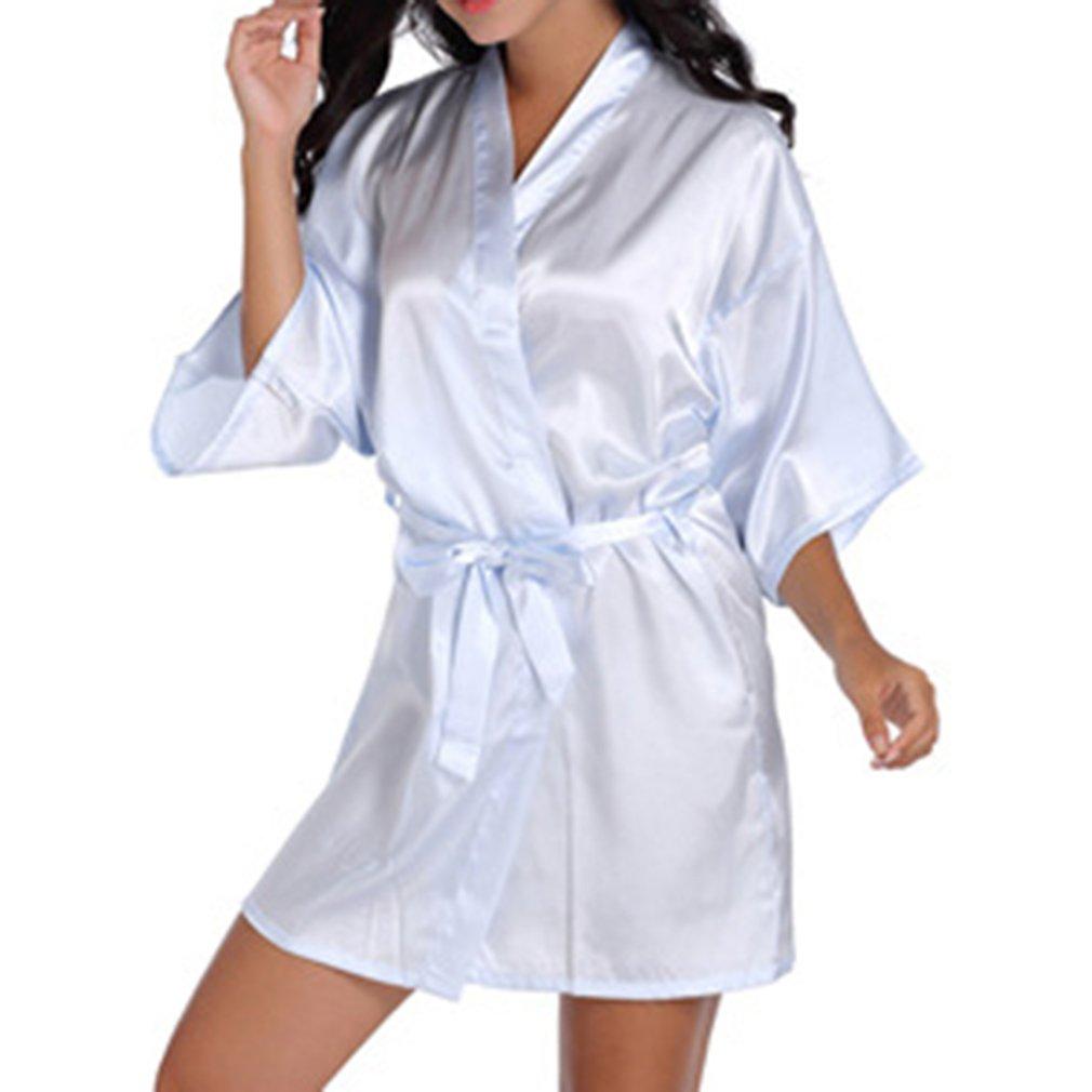Vestido Pijama Mujer Kimono Corto Bata de Satén Kimono del Satén Bata Manga 3/4 Albornoz Cuello en V Camisón Dama de Honor de la Novia: Amazon.es: Ropa y ...