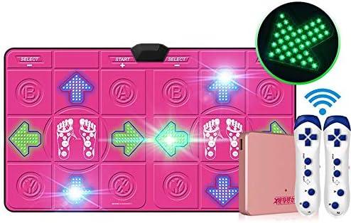 ワイヤレスダブル発光ダンスマット3D HDアンチスリップブランケット、快適で安全なカラースポットライトLEDバックライトキーボードワイヤレスヨガ減量エクササイズダンス (Color : Pink)