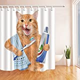 KOTOM A Cat with Toothpaste on Toothbrush Shower Curtain 69X70 inches Mildew Resistant Polyester Fabric Bathroom Fantastic Decorations Bath Curtains Hooks Included (Multi14)