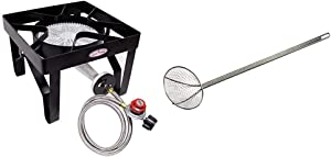 GasOne 200, 000 BTU Square Heavy- Duty Single Burner Outdoor Stove Propane Gas Cooker with Adjustable 0-20Psi Regulator & Steel Braided Hose & Bayou Classic 0196 36-Inch Nickel-Plated Skimmer