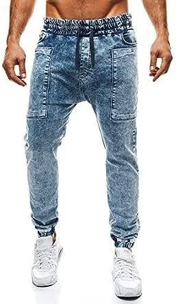 OZONEE Pantalones hombre Pantalones Vaqueros Pantalón Chándal ...