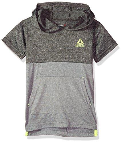 Reebok Boys' Little Athletic T-Shirt, Black/Heather Grey-BBXOJ, 6
