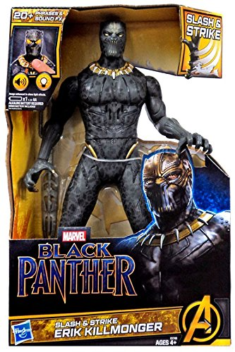 Marvel Black Panther Erik Killmonger Slash n Strike | 13 inch height | Over 20 Phrases, Sounds, Special FX | battery operated