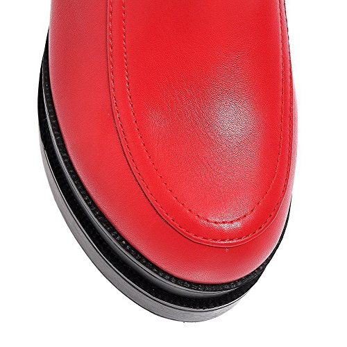 AllhqFashion Womens Solid PU High Heels Round Closed Toe Pull on Pumps-Shoes Red z49TQ9