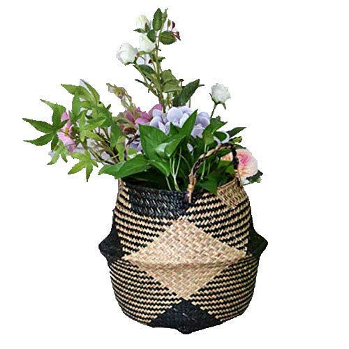 ABAO UNCLE Natural Seagrass Basket - BESTCHANCEUS Seagrass Belly Basket with Handles Handmade Foldable Tote Basket for Storage,Laundry, Picnic, Plant Pot Cover, and Beach Bag Block 22x20CM