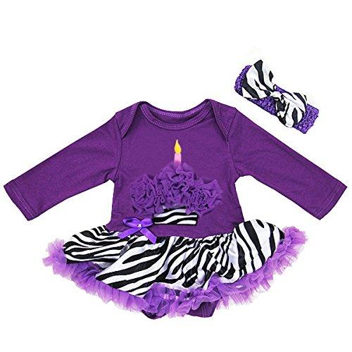Baby Purple Zebra Cupcake Bodysuit Tutu Headband Set X Large Purple