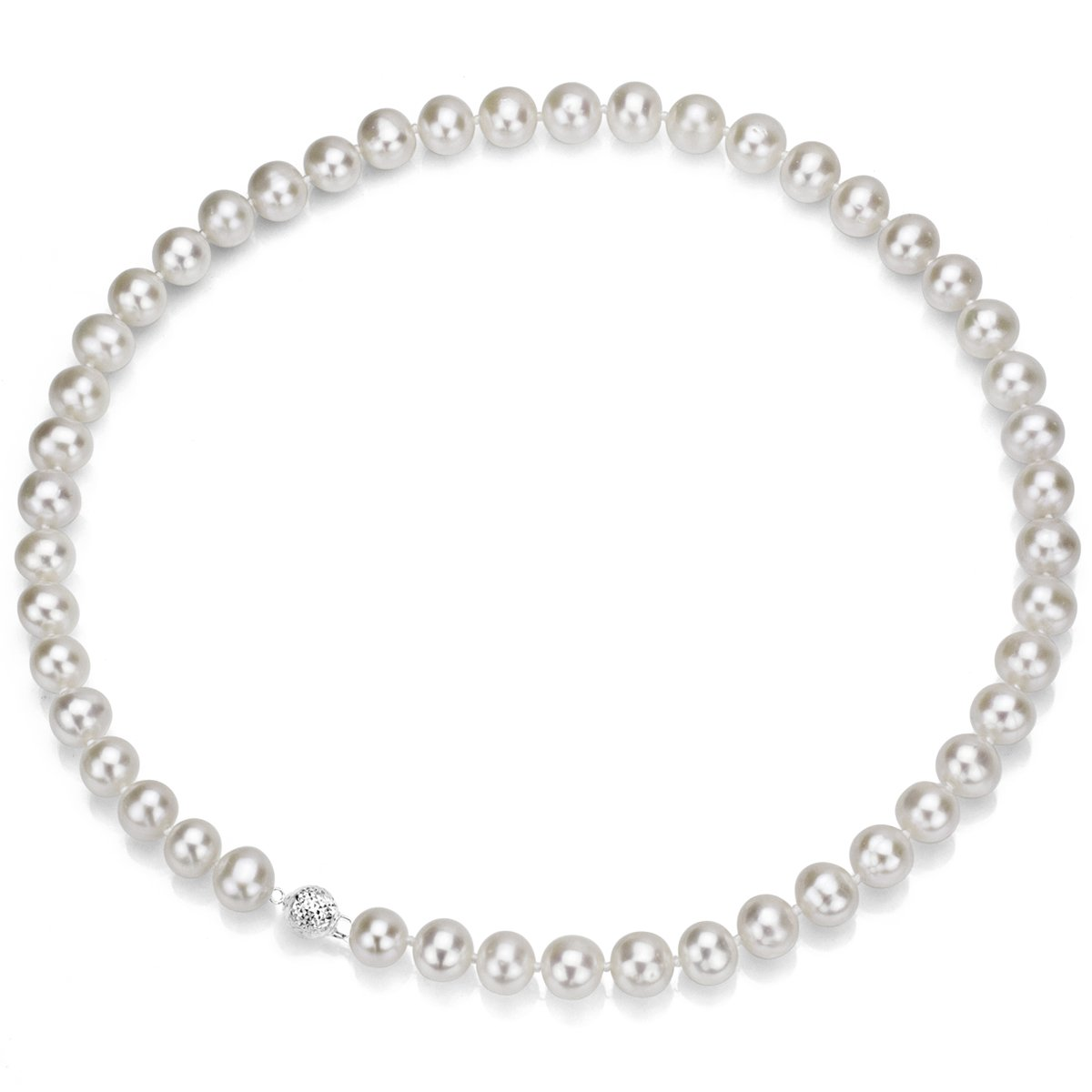 Sterling Silver 8-9mm White Freshwater Cultured Pearl Necklace 18 Inch AAA Quality