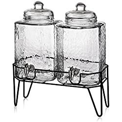 "Style Setter Hamburg Dispensers with Stand (Set of 2), Glass, 1.5 Gallons Each, 8.2 x 16.8"", Clear"