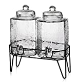 Style Setter Hamburg 210266-GB 1.5 Gallon Each Glass Beverage Drink Dispensers with Metal Stand (Set of 2), 8.2 x 16.8'' Clear