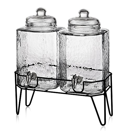 (Style Setter Hamburg 210266-GB 1.5 Gallon Each Glass Beverage Drink Dispensers with Metal Stand (Set of 2), 8.2 x 16.8