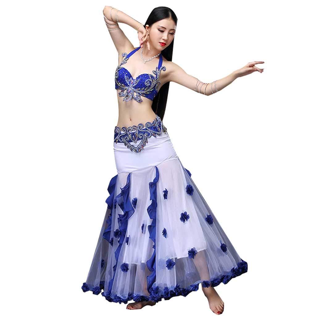 女性のモダンベリーダンスパフォーマンスコスチューム、手作りビーズブラセット B07J3C7G8V L l|Royal blue Royal blue L l