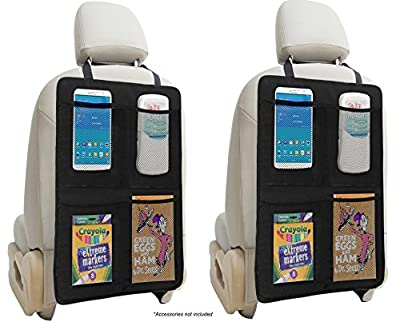 Kick Mat Auto Seat Back Protectors + 4 Large Organizer Pockets By Lebogner - Seat Covers For The Back Of Your Seat 2 Pack, X-Large Car Back Seat Protectors, Backseat Organizer, Kick Guard Seat Saver