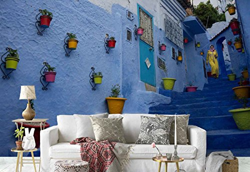 Photo wallpaper wall mural - Stairs Facades Flowerpots Passage Woman - Theme Travel & Maps - L - 8ft 4in x 6ft (WxH) - 2 Pieces - Printed on 130gsm Non-Woven Paper - 1X-1057096V4 by Fotowalls Photo Wallpaper Murals