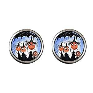 Chicforest Silver Plated Halloween family pumpkin head witch Photo Stud Earrings 10mm Diameter