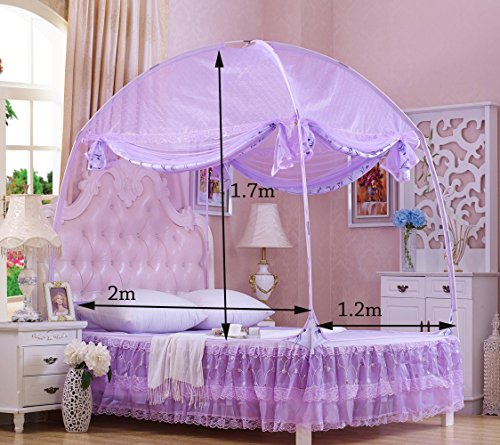 RuiHome 3-Doors Style Bed Mosquito Net Tent with Floor Home Bedroom Anti-bites Insect Mesh Netting (47''x79''x67'', Purple) by RuiHome (Image #6)