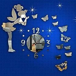 Islandgizmo Modern Style Butterfly Fairy DIY Mirror Wall Clock Wall Sticker