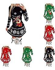 Winterjurk voor dames, elegante kerstjurk, vrouwen, mode, kerstprint, gebreide trui met lange mouwen, herfst, winter, warme pulloverjurk, oversized, mini-jurk, sexy, kort, stretch, sweatjurk, gebreide jurk