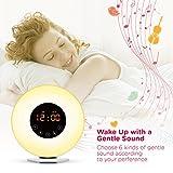 Wake Up Light, Digital Sunrise Alarm Clock-[2018 Upgraded] with Multi-Colorful Night Light, 6 Nature Sounds, FM Radio, Sunrise and Sunset Simulation Perfect Suit for Bedside-Gift Set