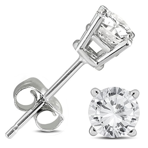 Diamond White Gold Certified Stud (1/2 Carat TW AGS Certified Round Diamond Solitaire Stud Earrings in 14K White Gold)