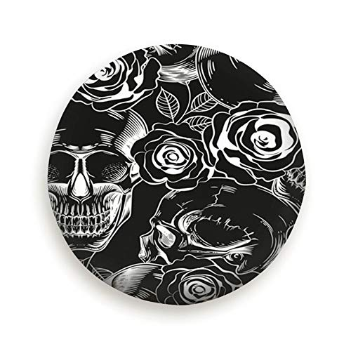 (X-Large Tire Cover Skulls Flowers On Black Polyester Universal Spare Wheel Tire Cover Wheel Covers Jeep Trailer Rv SUV Truck Camper Travel Trailer Accessories 15